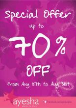 Special Offer up to 70% off at Ayesha Accessories from 15 to 31 August 2012