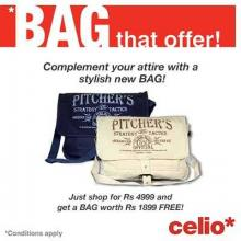 Bag that offer - Shop for Rs.4999 & get a Bag worth Rs.1899 FREE at Celio.