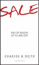End of Season Sale - Flat 30% off at Charles & Keith.