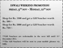 Diwali Weekend Promotion - Shop for above Rs.3500 from 9 to 12 November 2012 at Chemistry stores and get Gift Vouchers