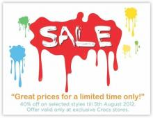 Enjoy 40% off at exclusive Crocs Outlets. Hurry, offer valid till 5th August! Make the most of it, Grab your pairs now!