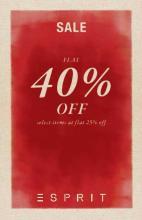 Esprit Sale - Flat 40% off. Select Items at Flat 25% off.