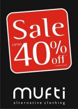 MUFTI announces it's End Of Season SALE at all Exclusive outlets!! Autumn Winter merchandise now upto 40% OFF* !