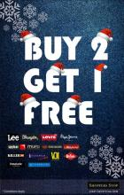 Make the most of this Christmas! Buy two pairs of jeans from your favorite brand at Shoppers Stop & get one absolutely free