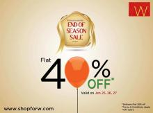 W for Woman End of Season Sale - Get Flat 40% off from 25 to 27 January 2013
