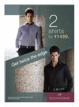 Deals, Offer at Westside - Get 2 Richmond Men's shirts for Rs.1499. From 15 to 27 June 2012.  Available at all stores.