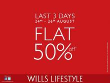 Last 3 days of sale. Grab premium apparels & accessories at flat 50% off! Rush to Wills Lifestyle stores now!