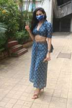 Amyra Dastur wearing indigo floral co-ord set by Spring Diaries
